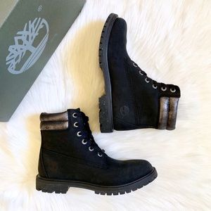 """Timberland 6"""" Double Collar Black & Silver Boots"""